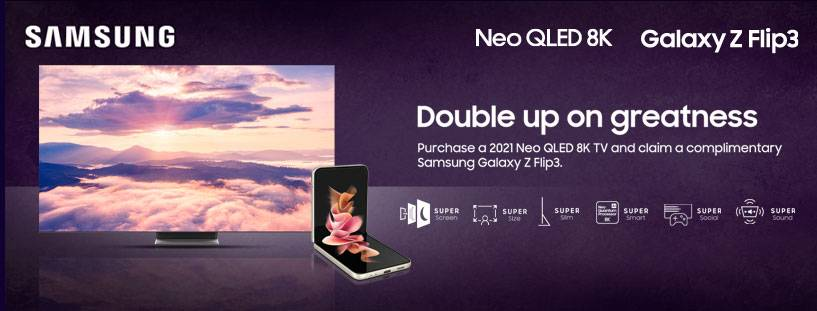 Claim A Free Samsung Galaxy Flip 3 Mobile When You Purchase Any Samsung Neo QLED 8K TV