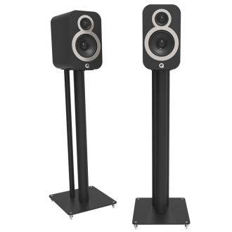 Q Acoustics 3000FSi Speaker Stands Black Shown With 3020i