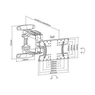 MW-HL31 Full Motion Wall Bracket Dimensions