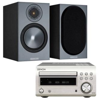 Denon DM41DAB with Monitor Audio Bronze 50 Silver - Black